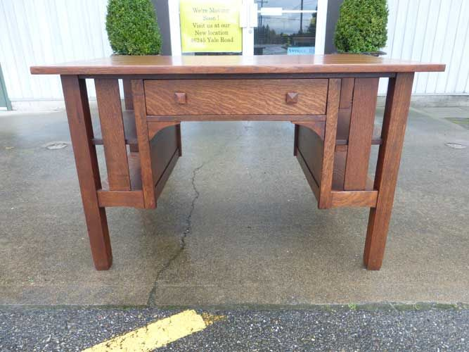 Antiques By Design - Stickley Bros Arts + Crafts Oak Library Table / Desk - Antiques By Design - Stickley Bros Arts + Crafts Oak Library Table