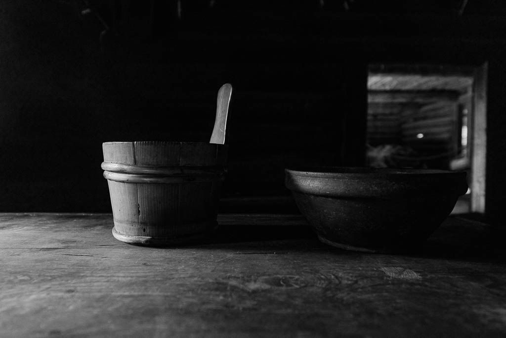 Black and White Fine Art Photography Print - Estonian Open Air Museum II (Wooden Dishes, Craftsmanship, Large Wall Print for Home Decor) by elvistudio on Etsy