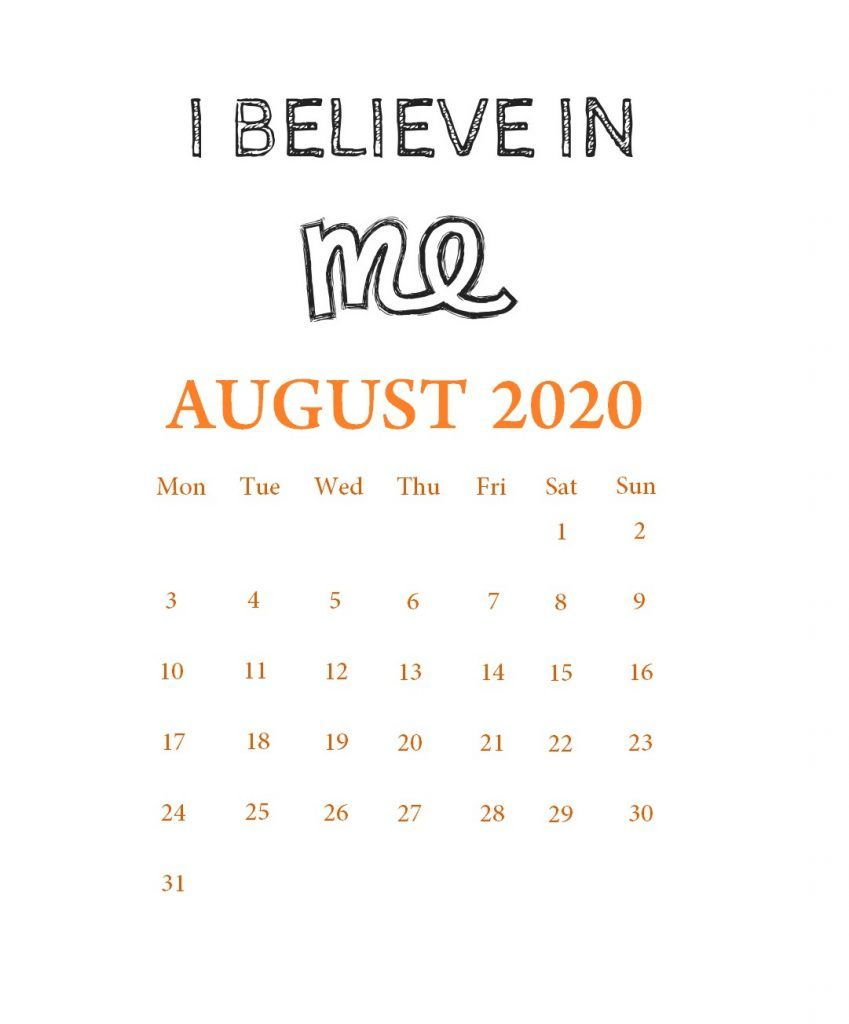 August 2020 Motivational Calendar Calendar Template Printable Calendar Template Printable Calendar