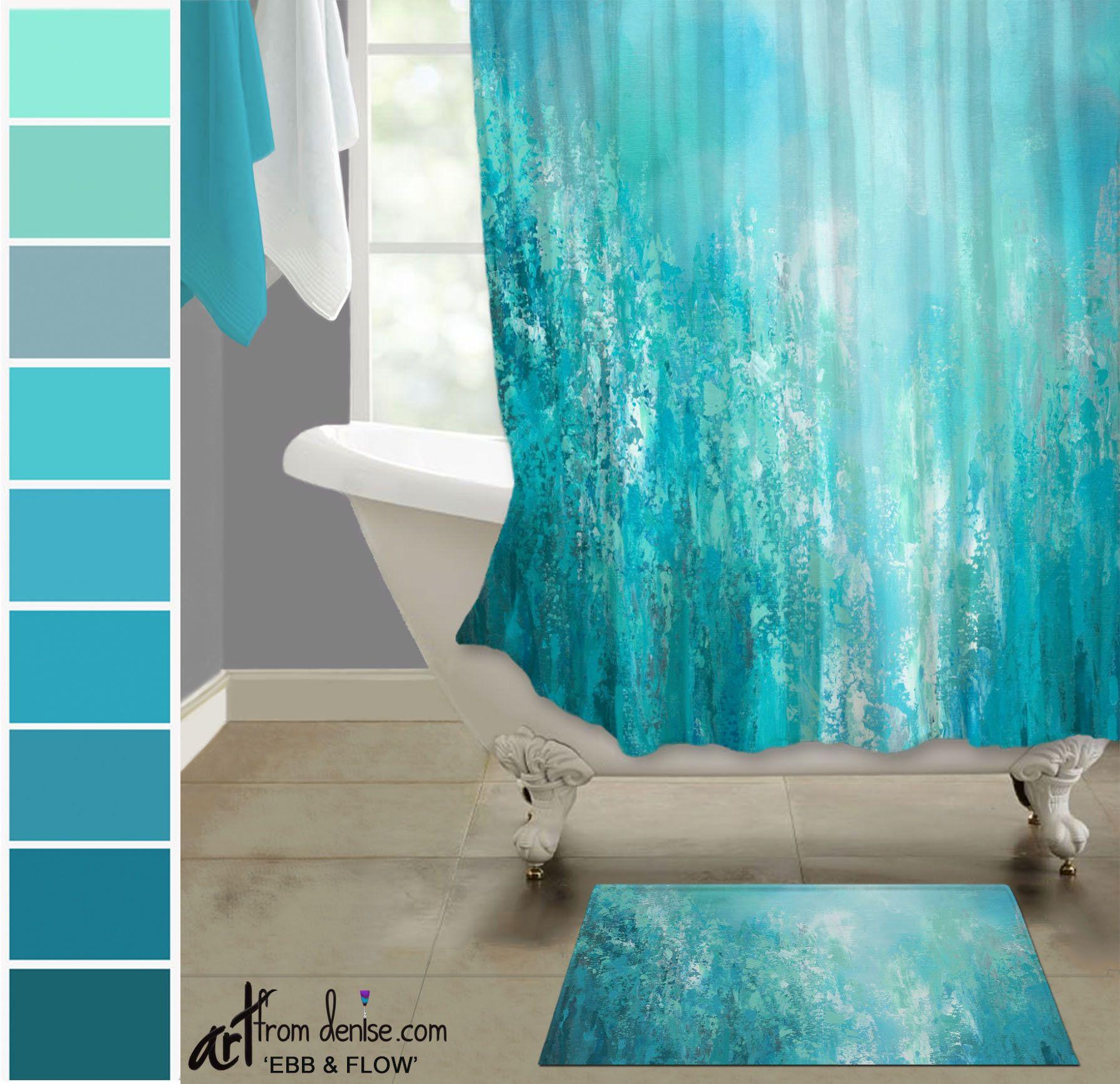 Modern Aqua Blue Gray And Teal Shower Curtain Bath Mat Set