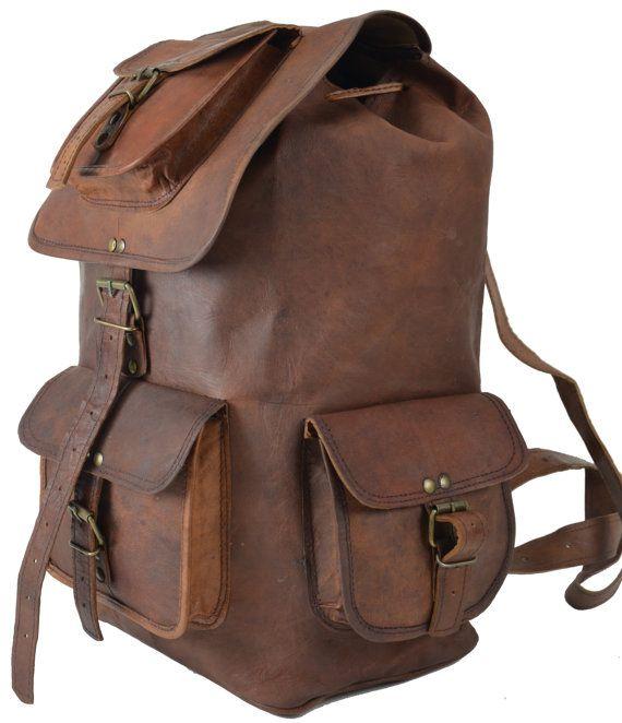 "20"" Large Leather Backpack Messenger Bag Handmade Mens Unisex School College Satchel Handbags/Bags Picnic Weekend bag. $99.00, via Etsy."