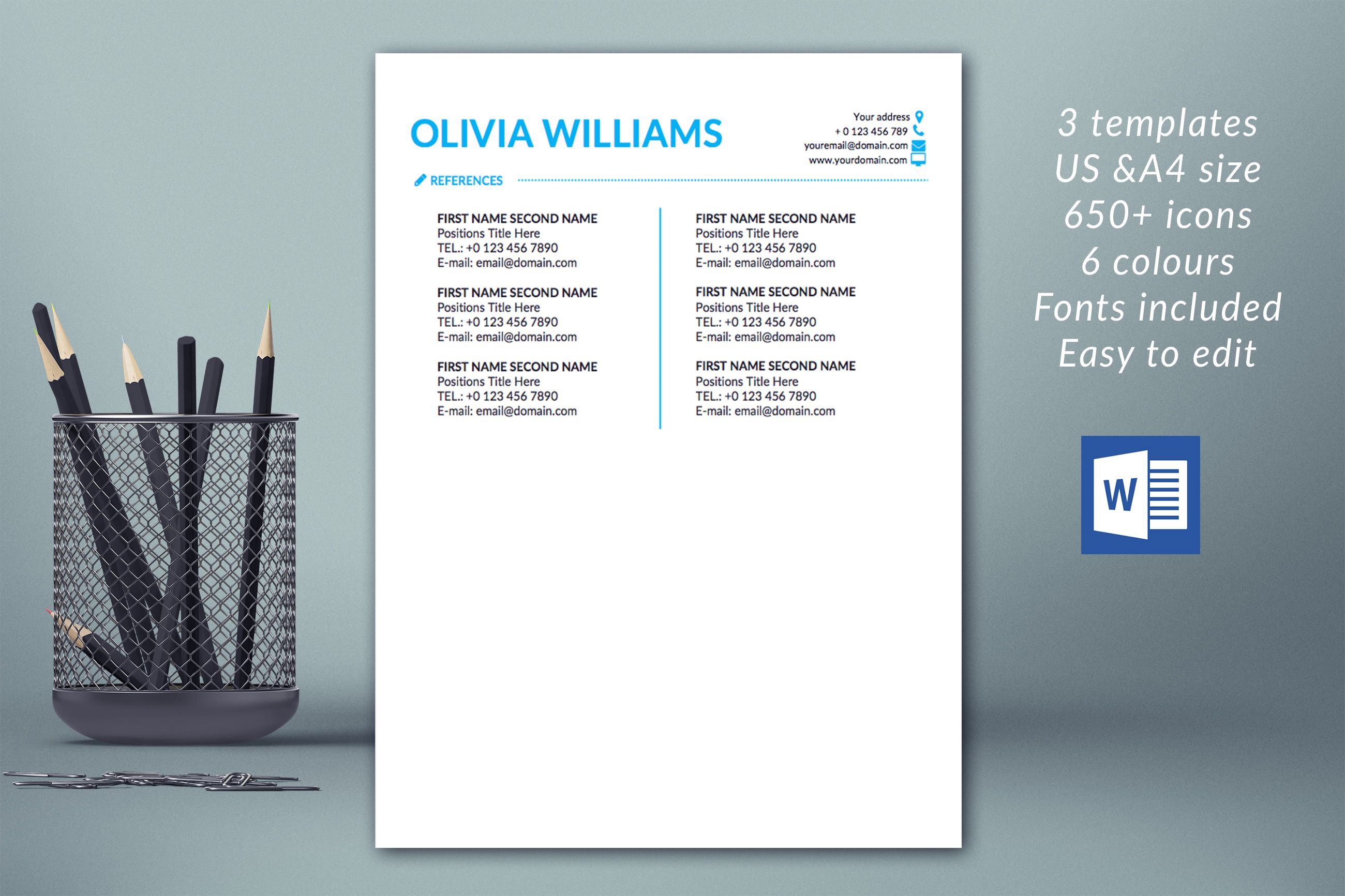 Modern Resume Template Instant Download CV Template