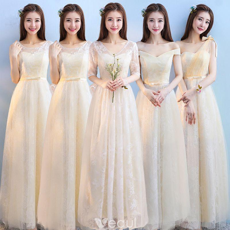 ece37a2d12 Descuento Champán Vestidos De Damas De Honor 2018 A-Line   Princess Apliques  Con Encaje Bowknot Cinturón Largos Ruffle Sin Espalda Vestidos para bodas