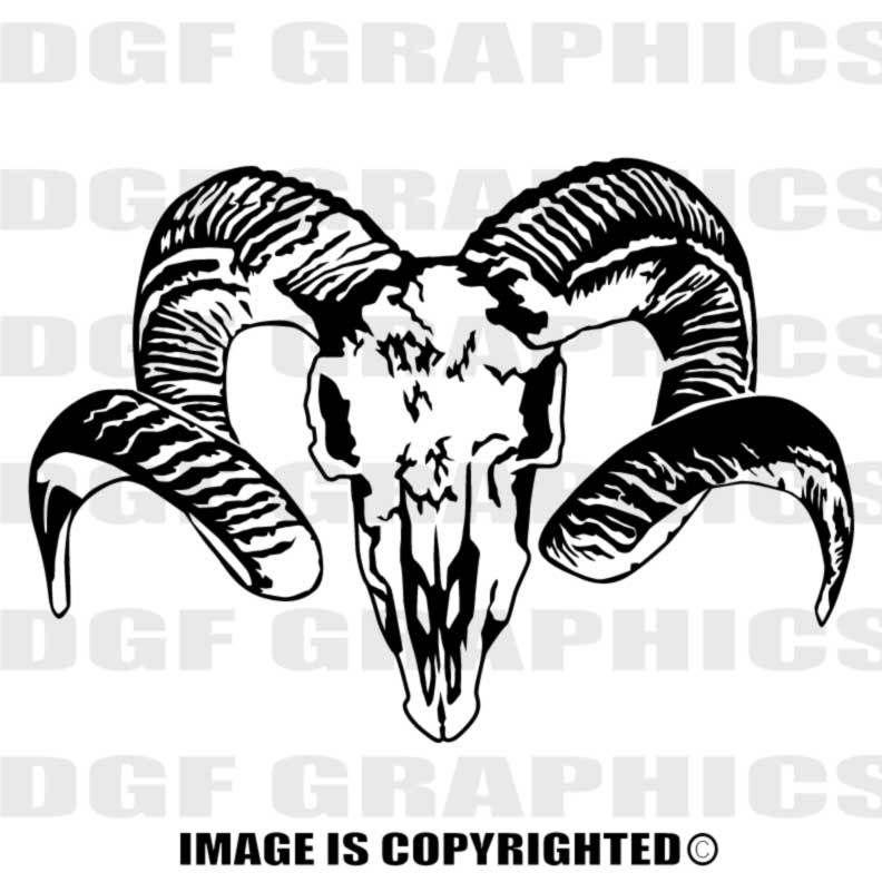 BIGHORN SHEEP RAM SKULL Custom Personalized single Color ...