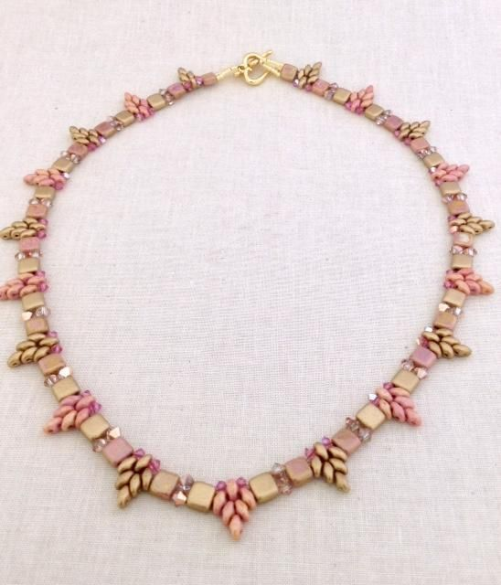 Looking for your next project? You're going to love Pink Stars are Falling Necklace by designer Sweet Beads.