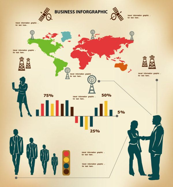 Business People with Business infographics design vector 01 ...