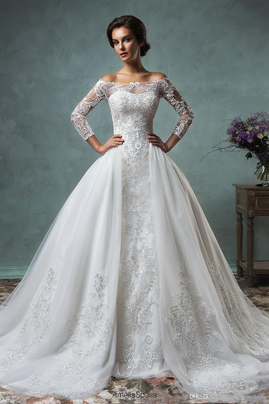 full lace wedding dresses with detachable skirt amelia sposa
