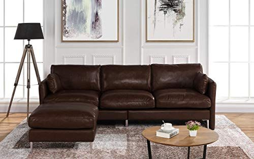 New Modern Leather Sectional Sofa L Shape Couch 93 7 W Dark Brown Online Modern Leather Sectional Sofas Modern Leather Sectional L Shaped Couch