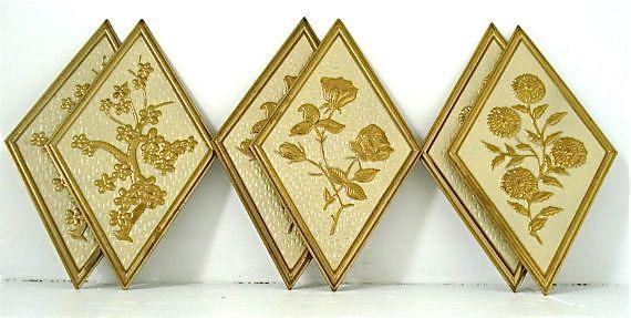 Vintage syroco set of three 3 diamond harlequin by housesixvintage ...