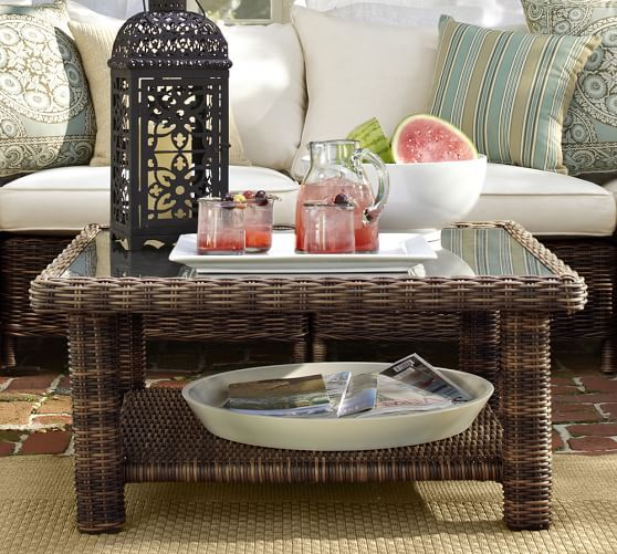 Torrey AllWeather Wicker Coffee Table Espresso Pottery Barn - Pottery barn outdoor coffee table