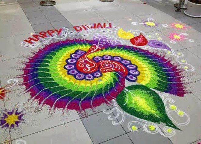 This is the theme based rangoli design which looks more for Floor rangoli design