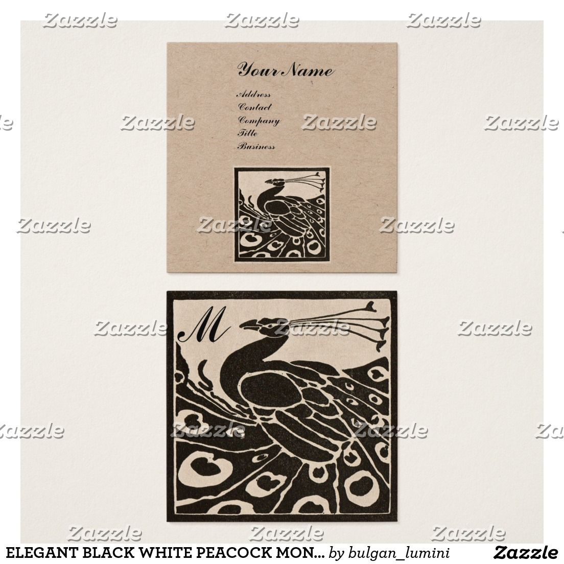 Elegant black white peacock monogram kraft paper square business card reheart Image collections