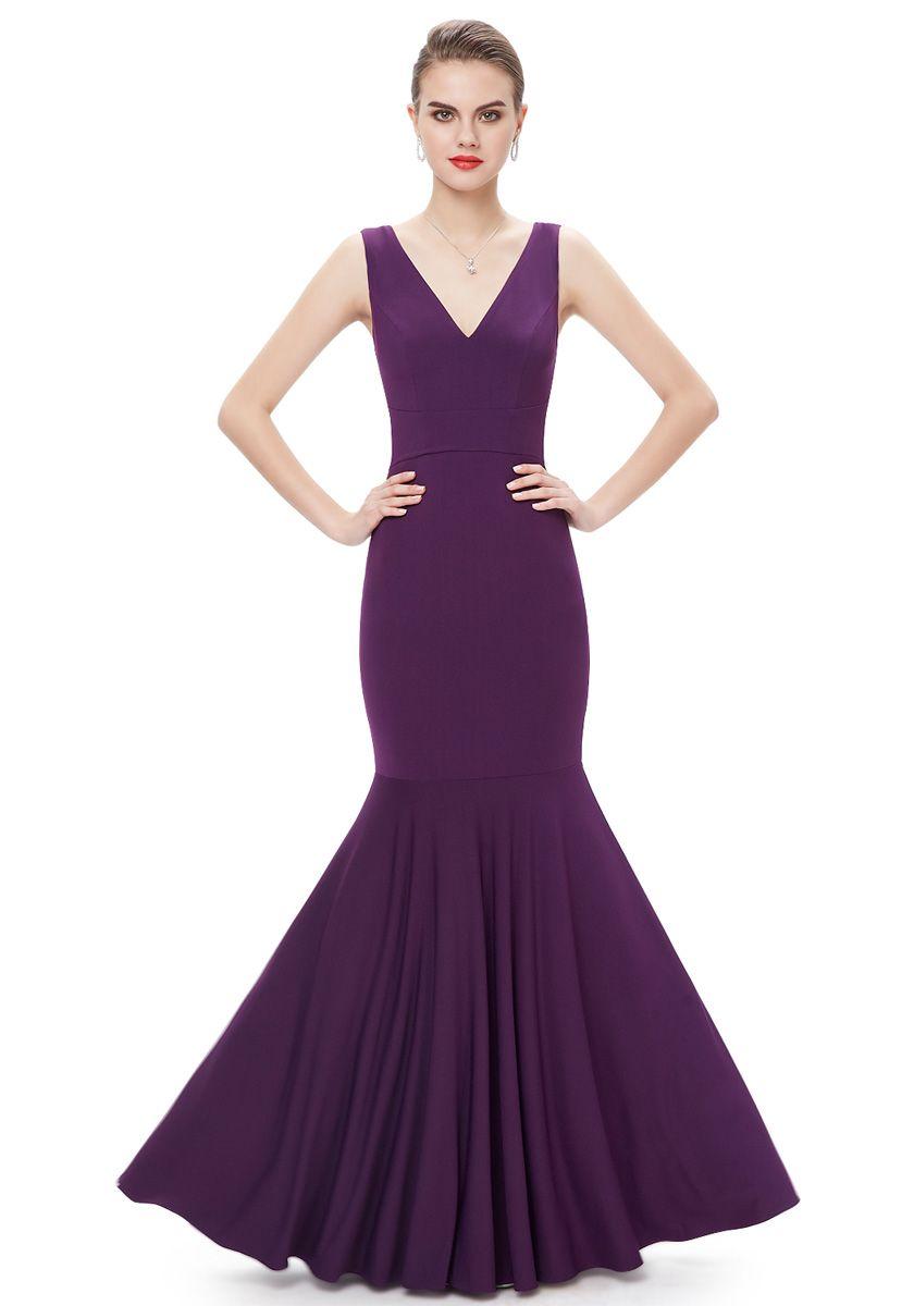 V Neck Floor Length Purple Chiffon Trumpet-Mermaid Evening Dress ...
