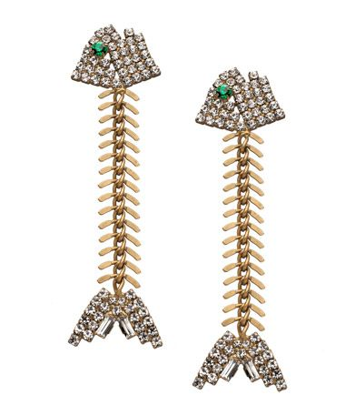 Elizabeth Cole Crystal Fishbone Earrings