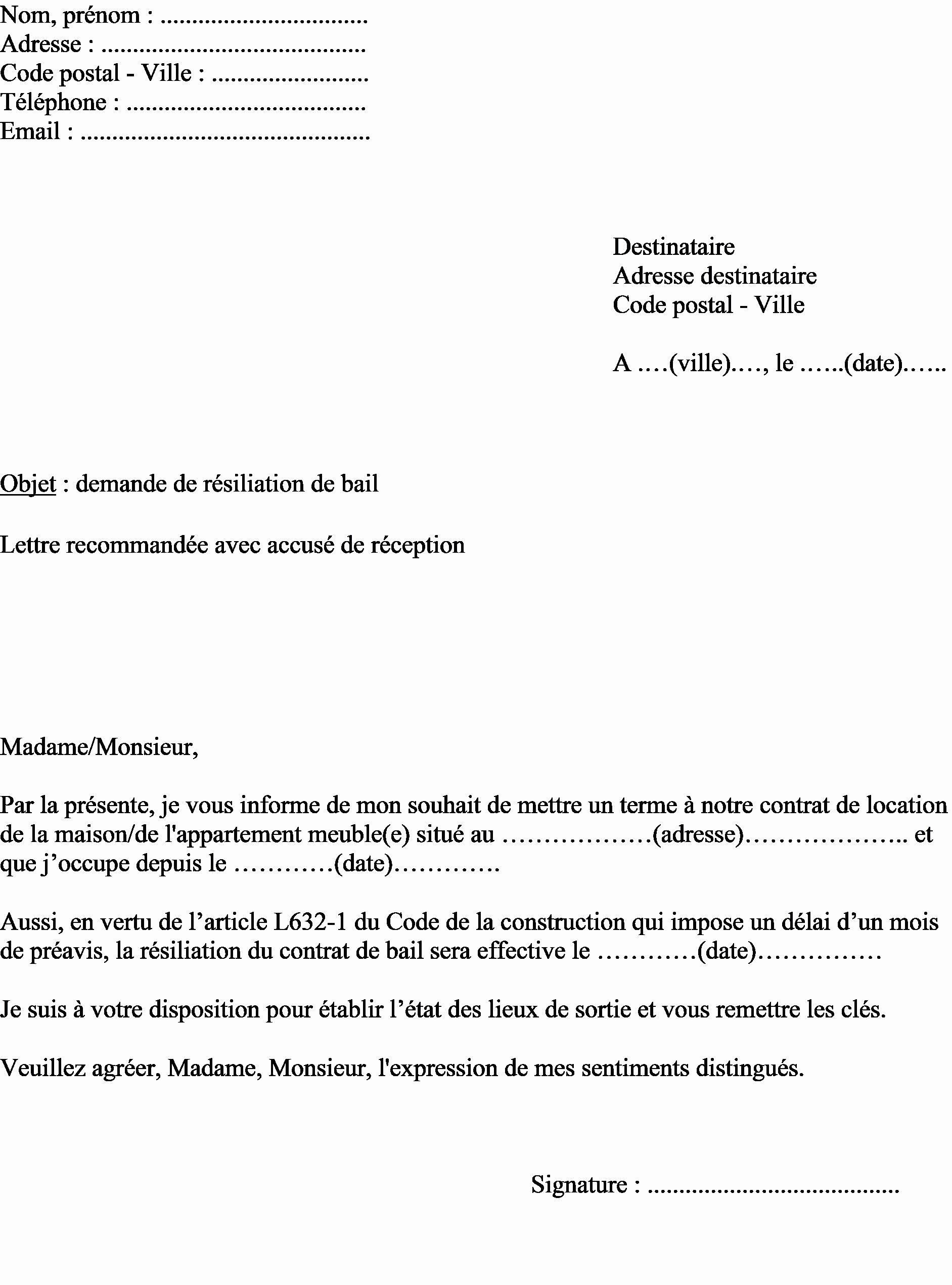 Lettre De Preavis Appartement Meuble Logement Non Newsindoco - davidreed.co en 2020 | Exemple de ...