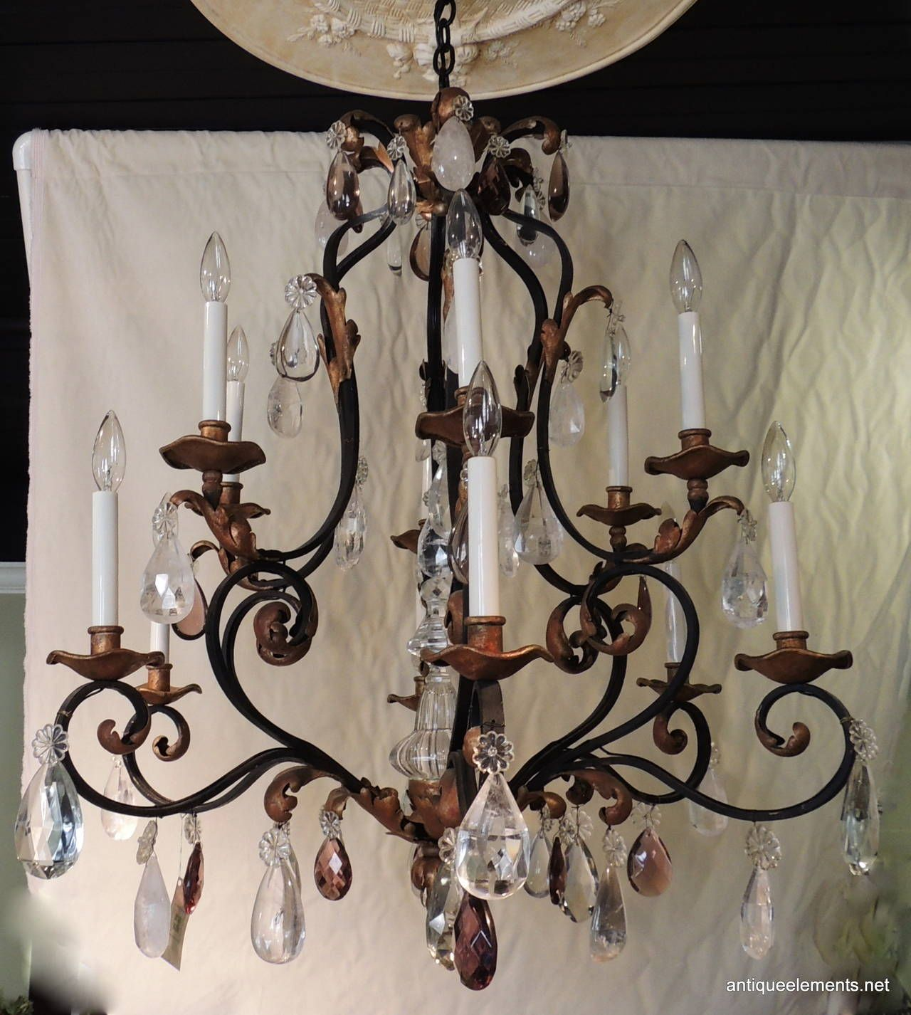 Clical Wrought Iron Gilt 12 Arm Chandelier With Amethyst And Rock Crystals From