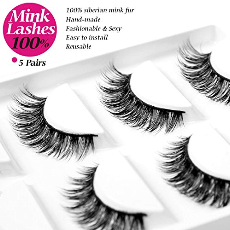 d708e07b22e Eliace 5 Pairs/Pack 3D Mink Fur Fake Eyelashes 100% Siberian Mink Fur False  Eyelashes Natural For Makeup, Mink 3D Lashes pack, Handmade Reusable Lashes  A ...