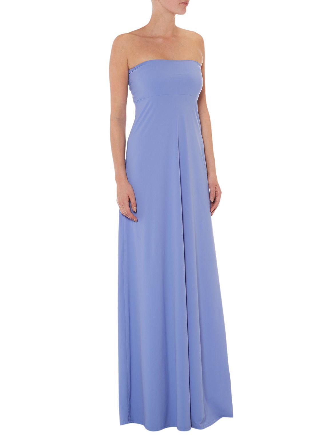 Strapless maxi jurk blauw
