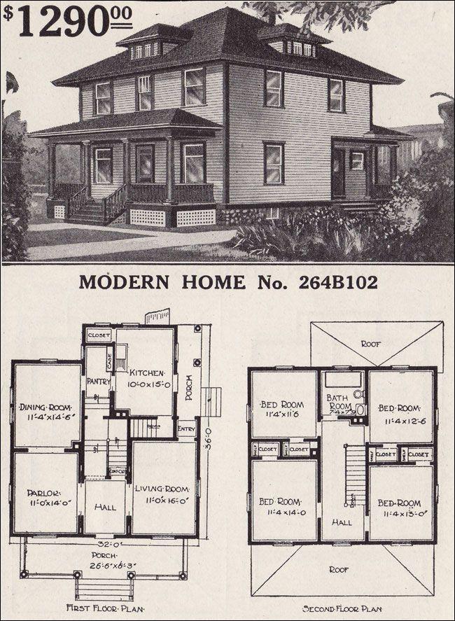 Pin By Jennifer Hanson On Home Design Ideas Four Square Homes Vintage House Plans House Plans
