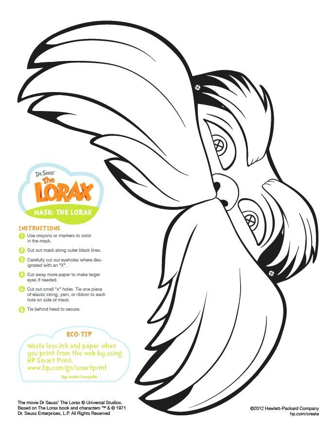 Extraordinary The Lorax Coloring Pages Fee Mask Printable Scientist ...