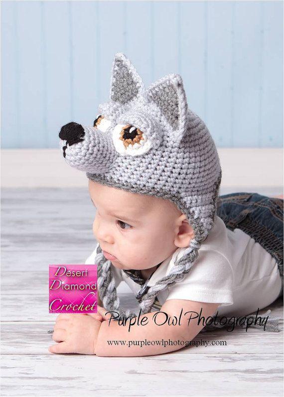 Crochet Pattern 009 - Wolf - Husky Puppy Earflap Beanie Hat ...
