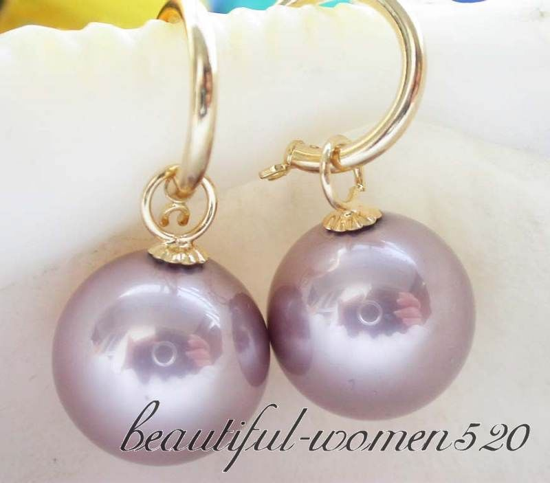 16mm Round Lavender South Sea S Pearl Dangle Earring 14k