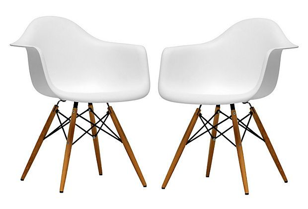 Sylvan Retro Accent Chairs Pair On Onekingslane Com White Plastic Chairs Retro Accent Chair Accent Chair Set