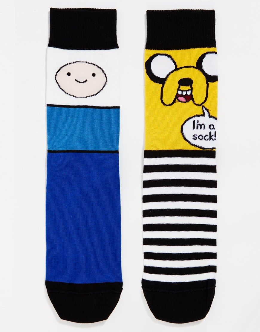 Image 1 ofASOS 2 Pack Socks With Adventure Time Print