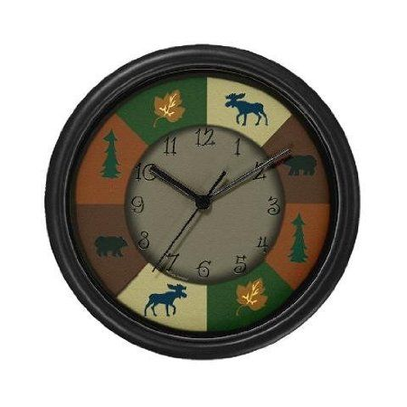 Amazon Com Lightweight Black Plastic Framed Bear And Moose Camping Wall Clock 10 Clock Rustic Clock Wall Clock