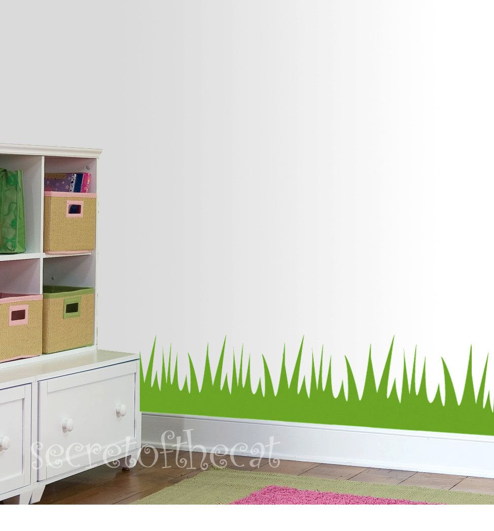 Nursery Wall Decal Grass Room Border Vinyl Decal Children - Vinyl wall decals borders
