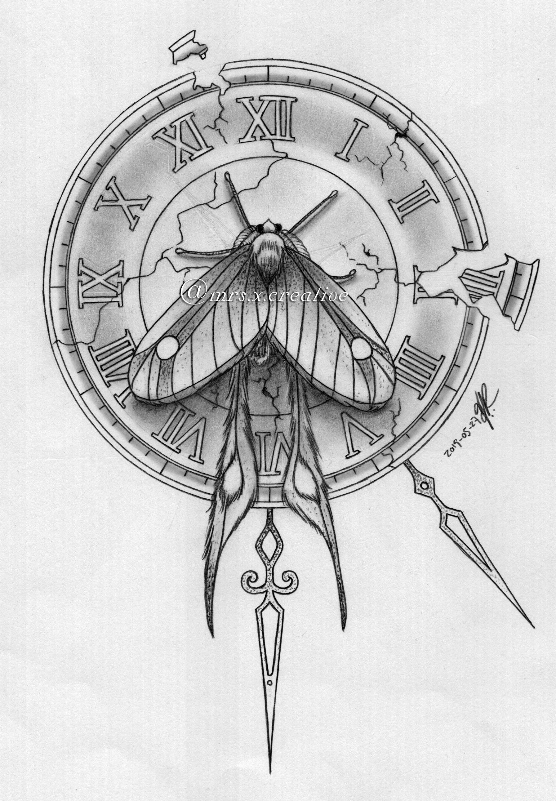 Moth And Clock Clock Tattoo Clock Tattoo Design Clock
