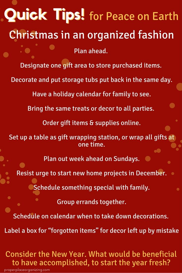 Stay organized around the holidays and have peace on earth in your home and life. Quick tips on simple ways to have more organization at the holidays. https://properplaceorganizing.com/quick-tips-surviving-holidays-organized-fashion/