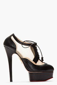0e0da1685 CHARLOTTE OLYMPIA Black Brogued leather Astaire Platform heels on shopstyle .com