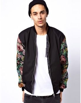 Reclaimed Vintage Varsity Jacket with Floral Sleeves, Asos