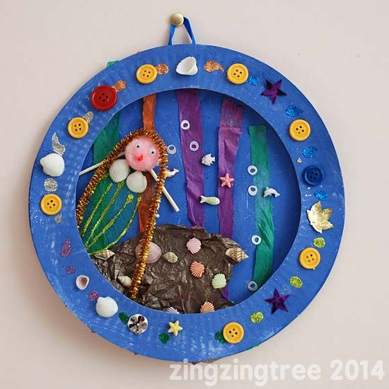 Mermaid collage from a paper plate by karen jacot rhoton for Mermaid arts and crafts