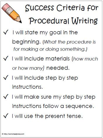 Success Criteria Procedural Writing More