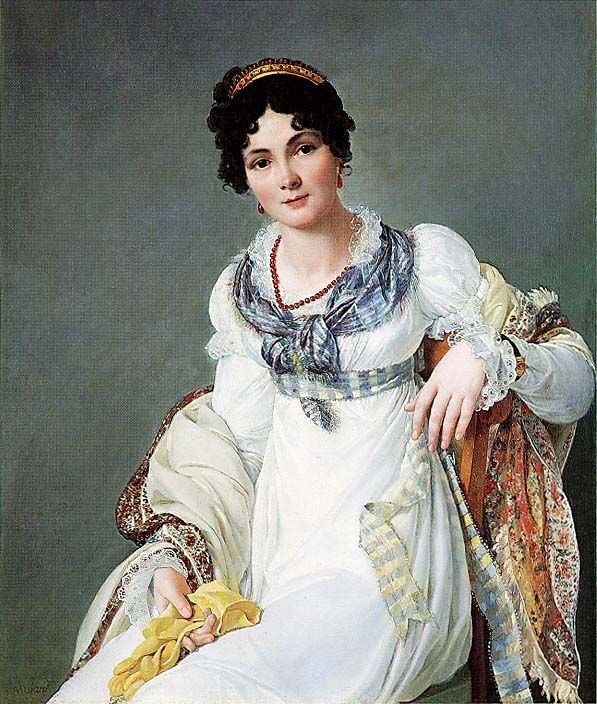 Portrait of a lady by Henri François Mulard, ca. 1810  white dress, undersleeves, lace, blue and white sash, coral beads