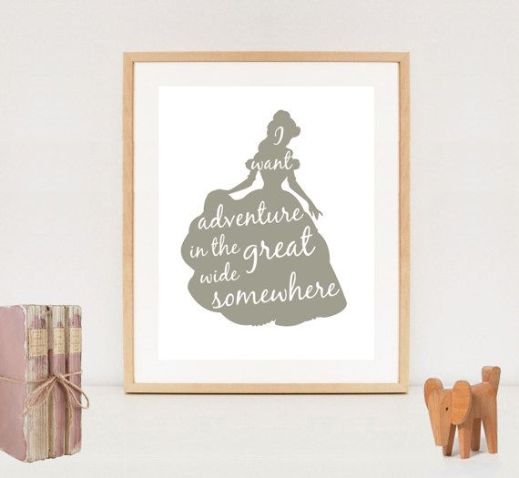 Princess Wall Art disney princess nursery wall art - belle silhouette poster