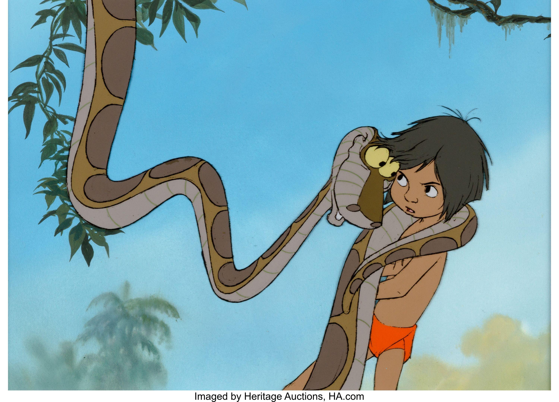 The Jungle Book Mowgli and Kaa Production Cel (Walt Disney