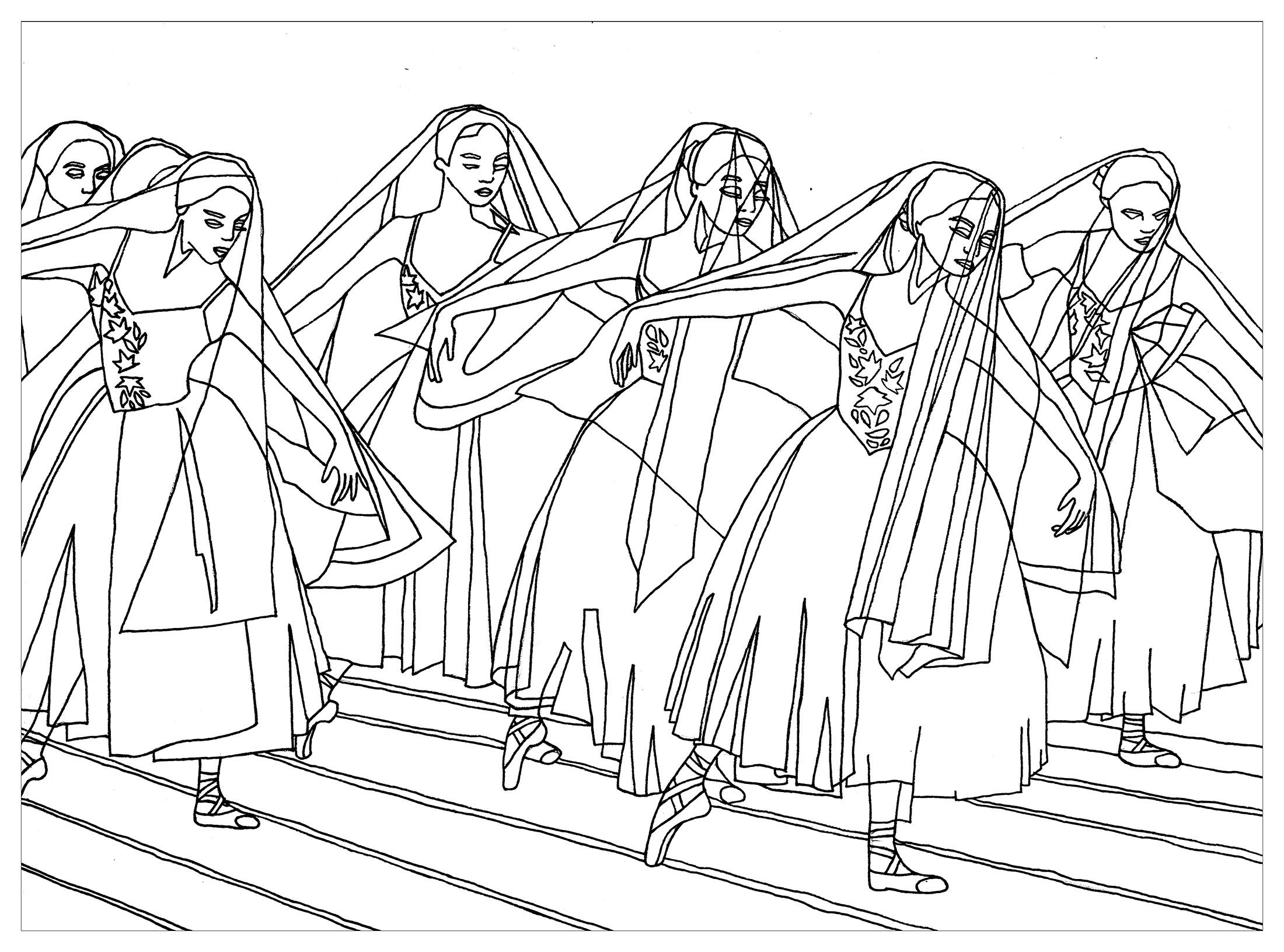 Giselle Ballet Zen And Anti Stress Coloring Pages For Adults