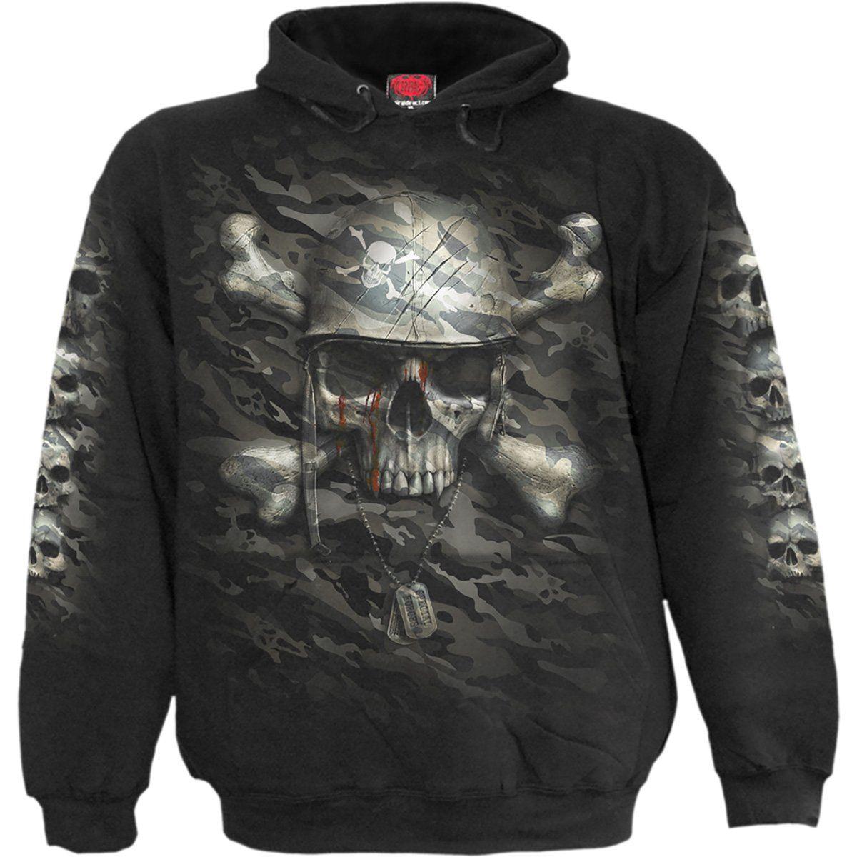 Skul - Gothic,Goth,Skull Death Spiral Boss Reaper Black Hoodie Special Order
