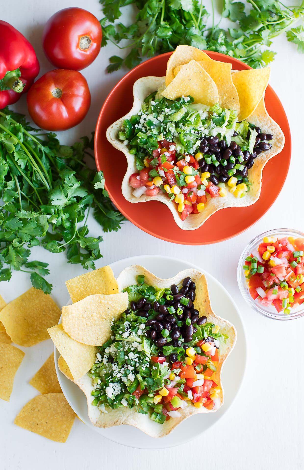 Taco Salad with Homemade Tortilla Bowls   Peas And Crayons ...