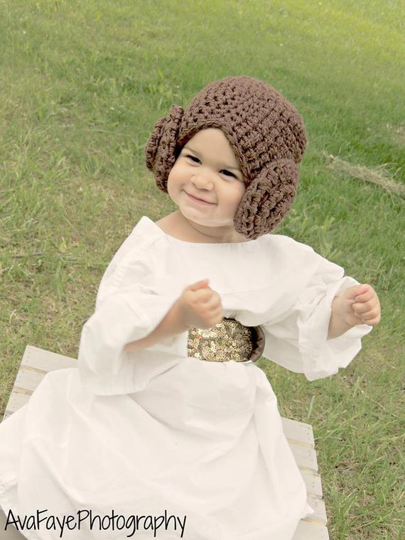 Crocheted Princess Leia Hat. Hand Made Star Wars Wig Hat. 6e0a5dfc0fd