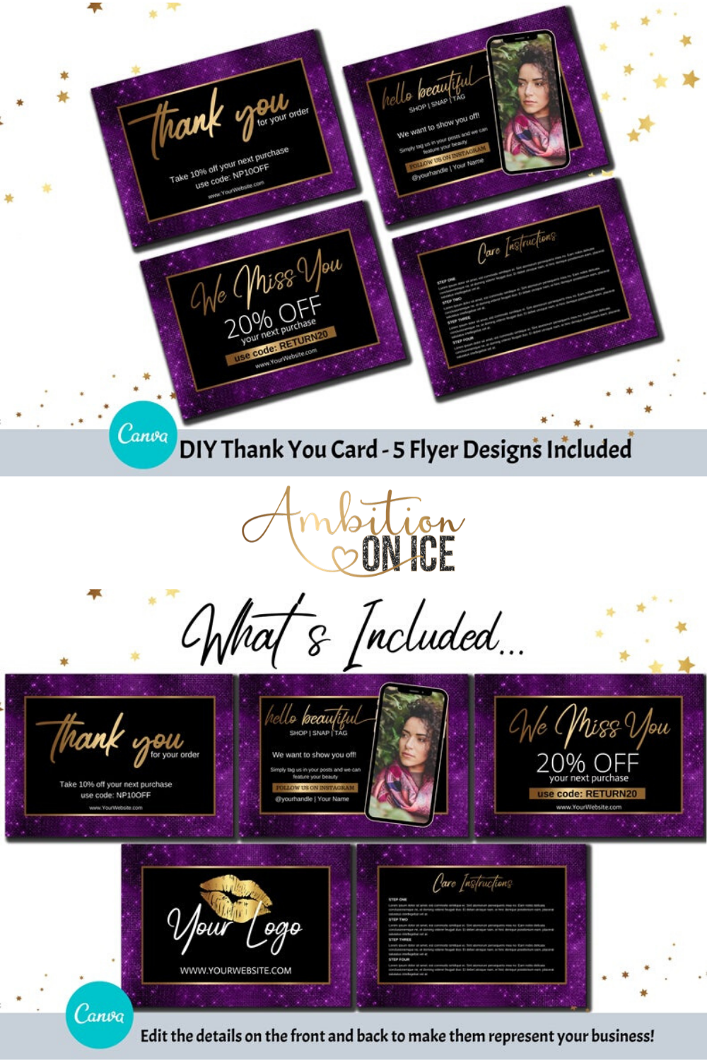 DIY Purple Sequin Thank You Card Canva Template. Gold ...