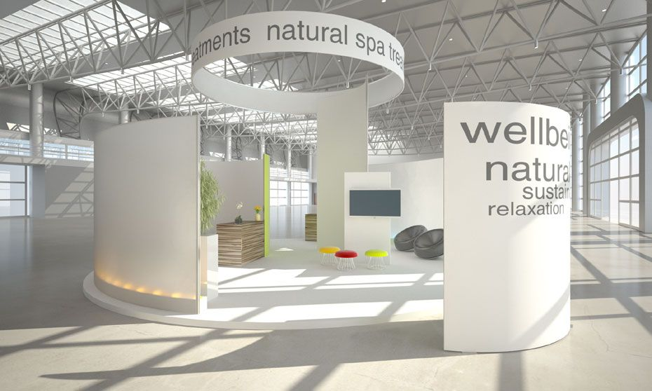 Fabric Exhibition Stand Zones : Aluminium modular stands tension fabric system used to create
