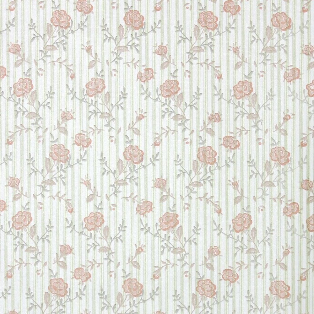 1970s Retro Floral Vintage Wallpaper Orange Flowers on