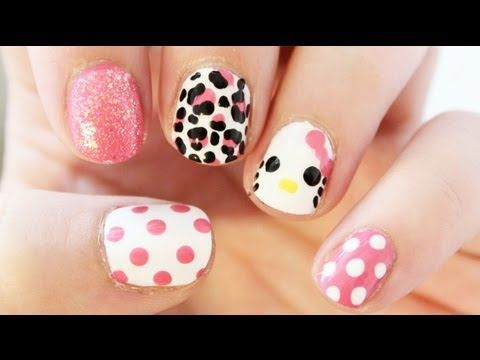 Hello Kitty Mix and Match Nail Art | TotallyCoolNails - SO CUTE AND SO EASY!!!!!
