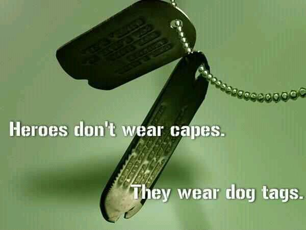 Heroes don't wear capes.  They wear dog tags.