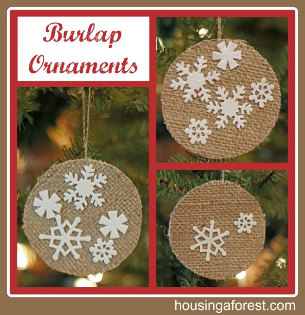Burlap ornaments burlap ornaments hessian and ornament hessian ornaments spray adhesive to sandwich white felt between hessian front back this will help to add weight stiffen the hessian solutioingenieria Gallery