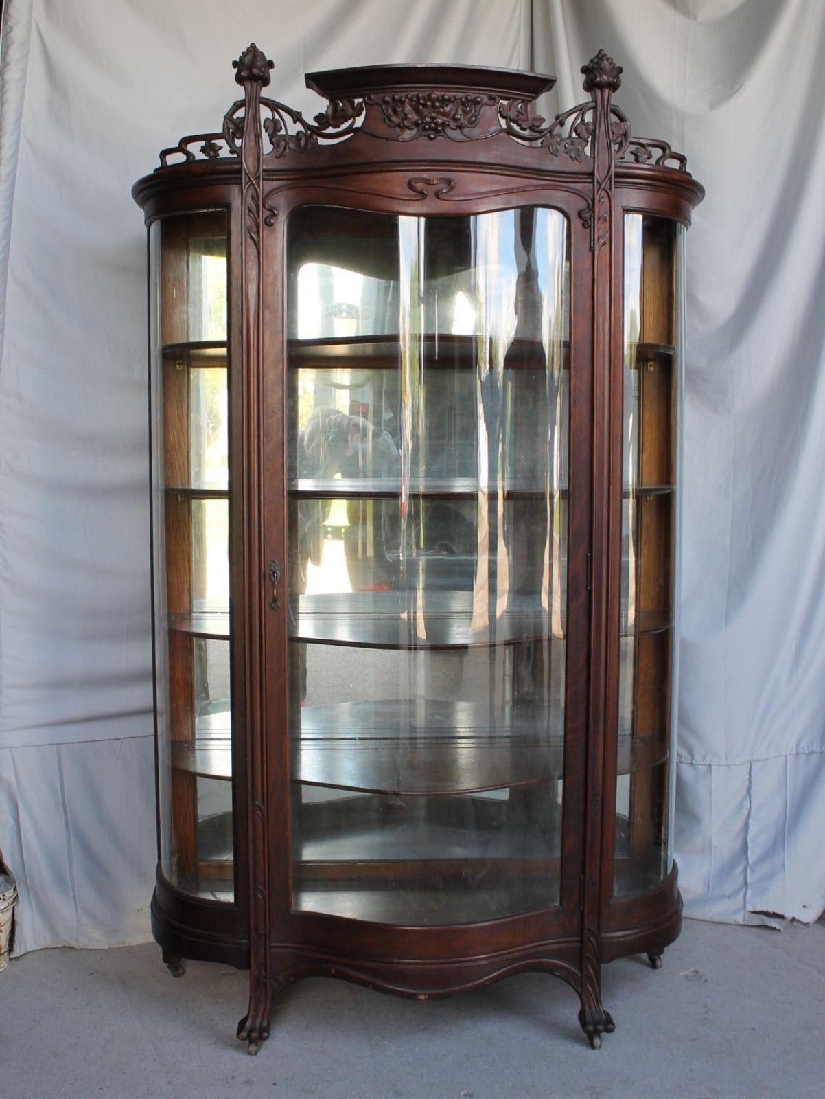 Antique Oak Curio China Art Nouveau Style
